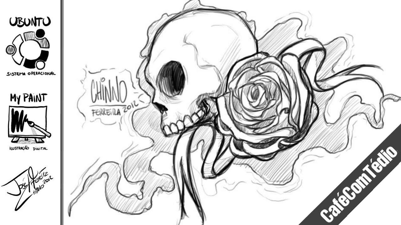 Desenho Rapido Caveira E Rosa Youtube