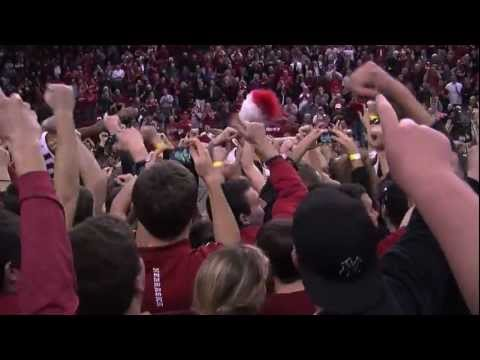 Husker fans storming the court after the last victory ever at the Devaney Center.