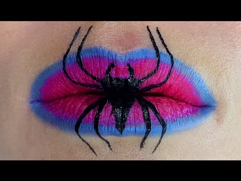Halloween Spider makeup tutorial - Spider lips - YouTube