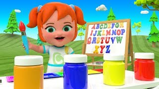 Little Baby Girl Fun Play Learn Alphabets A-Z Drawing ABC Colors 3D Kids Learning Videos Educational