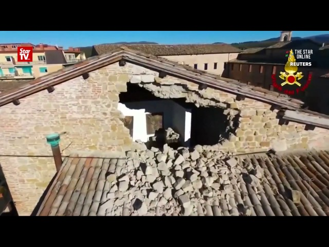 Drone video shows extent of Italy quake damage
