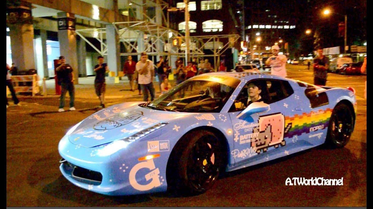 deadmau5 Revving His Ferrari 458 Italia Nyan Cat Theme Purrari! Gumball 3000  YouTube