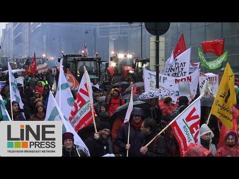 Manifestation anti-traité transatlantique TTIP-TAFTA / Bruxelles - Belgique 19 décembre 2014