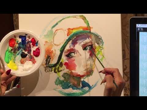 Girl Portrait With A Flowered Hat Acrylic Painting For Beginners tutorial (2018)