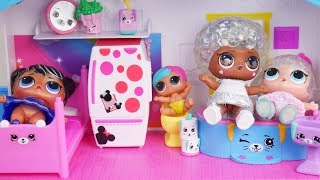 barbie-lol-family-dollhouse-cleaning-morning-routine-disney-toys-dolls