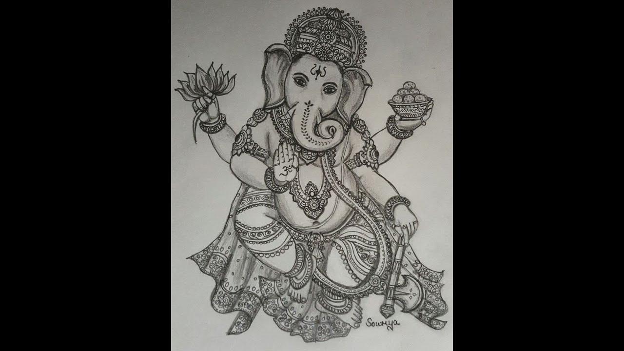 Pencil Drawing Vinayagar Last Part Youtube