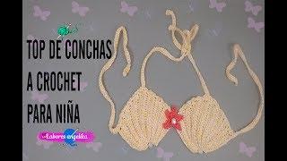 TOP DE CONCHAS A CROCHET PARA NIÑA. | Labores Angélika |