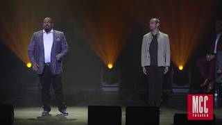 james monroe iglehart performs satisfied with javier muñoz and lexi lawson from hamilton
