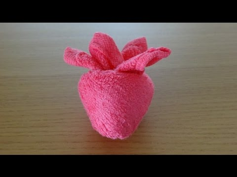 How to Make a Towel Strawberry おしぼりイチゴのつくり方 Como Hacer una fresa de toalla