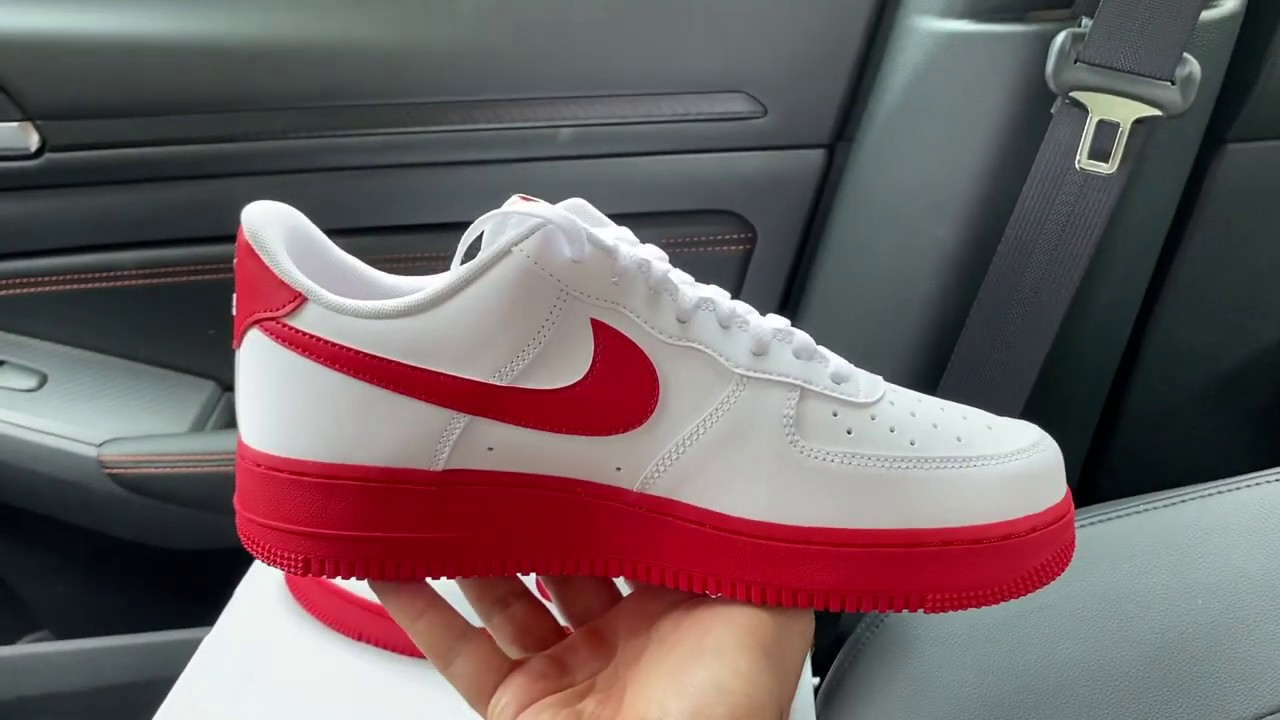Nike Air Force 1 Low White University Red Sole Shoes Youtube