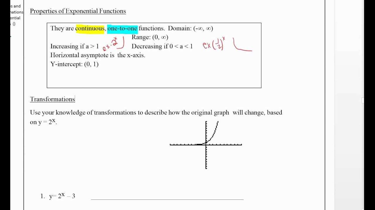 Properties And Transformations Of Exponential Functions Properties And  Transformations Of Exponential Functions Youtube