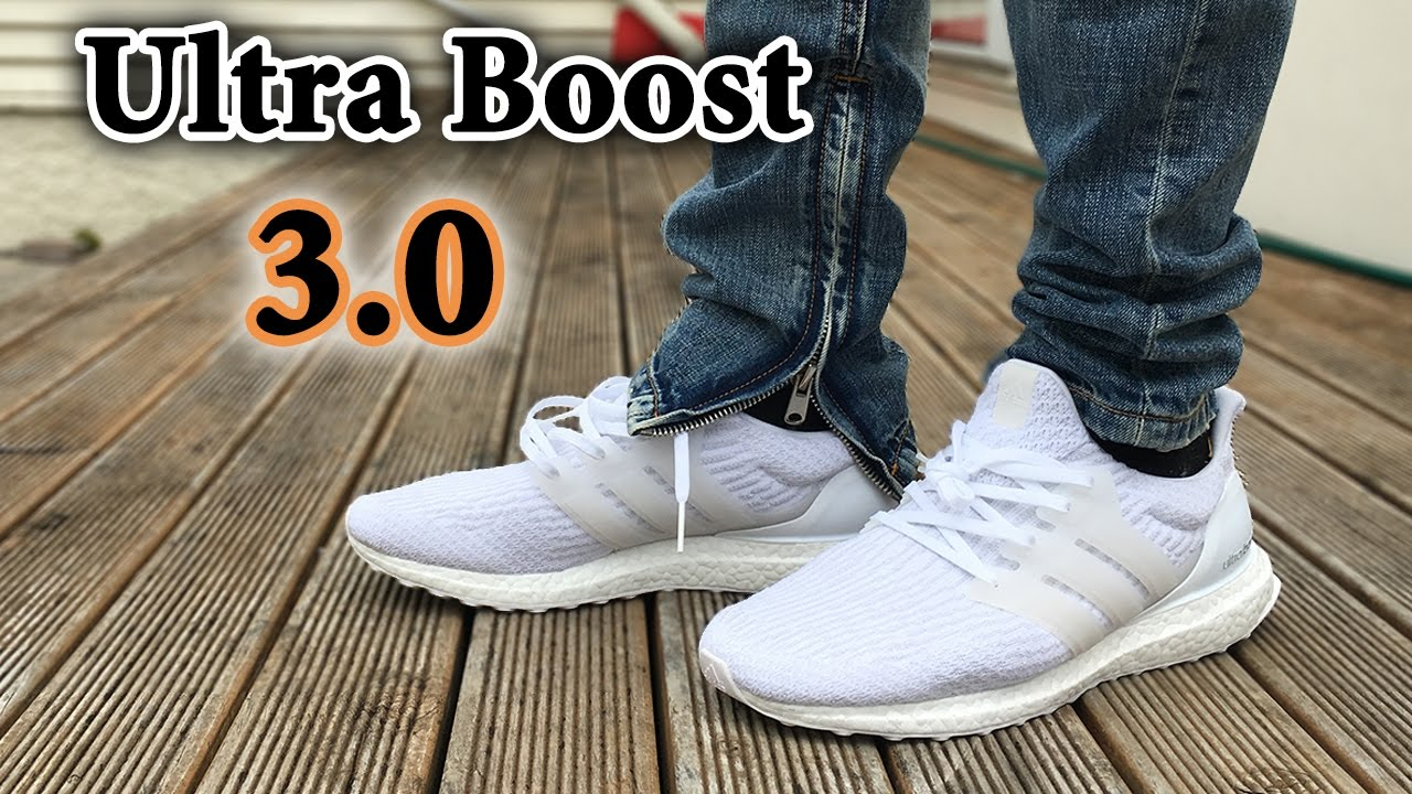 Ultra Boost 3 0 Quot Triple White Quot On Feet Detailed Close Up