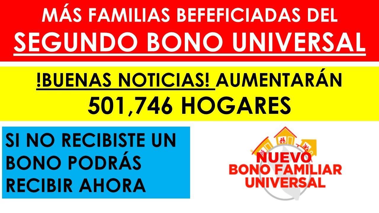!Noticia de último minuto! Aumentaron padrón de beneficiados del SEGUNDO BONO UNIVERSAL