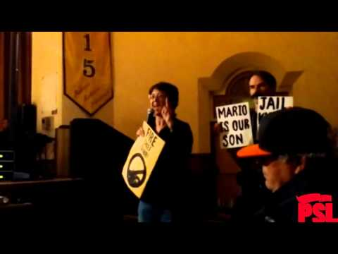Gloria La Riva speaks against police brutality at the sham DoJ meeting in San Francisco, March 2016