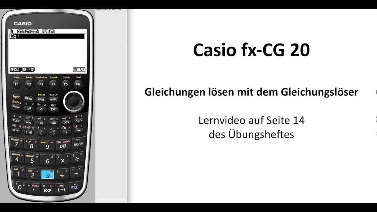 casio fx cg50 casio fx cg20 gleichung l sen mit dem. Black Bedroom Furniture Sets. Home Design Ideas