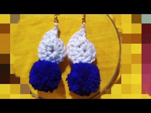 DIY pompom earrings valentines gift Crochet earrings making jewellery handmade earrings making