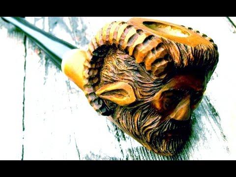 Wood Spirit Satyr Pipe Carving