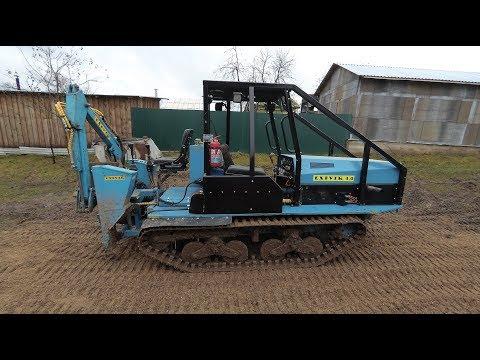 видео: Самодельный мини-трактор. Тест трактора с навешенным самодельным экскаватором на ходовые качества.