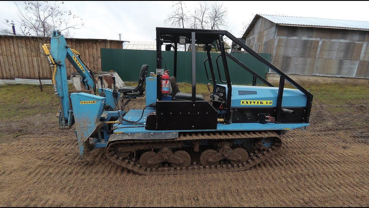 Самодельный мини-трактор. Тест трактора с навешенным самодельным экскаватором на ходовые качества.