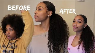 How To: Sleek Low Ponytail w/ Weave on Short Natural Hair