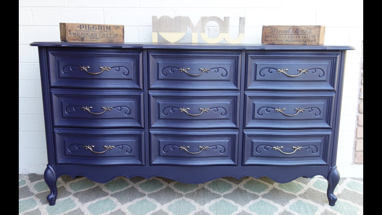 Furniture Makeover Do it yourself project Navy Blue French Dresser