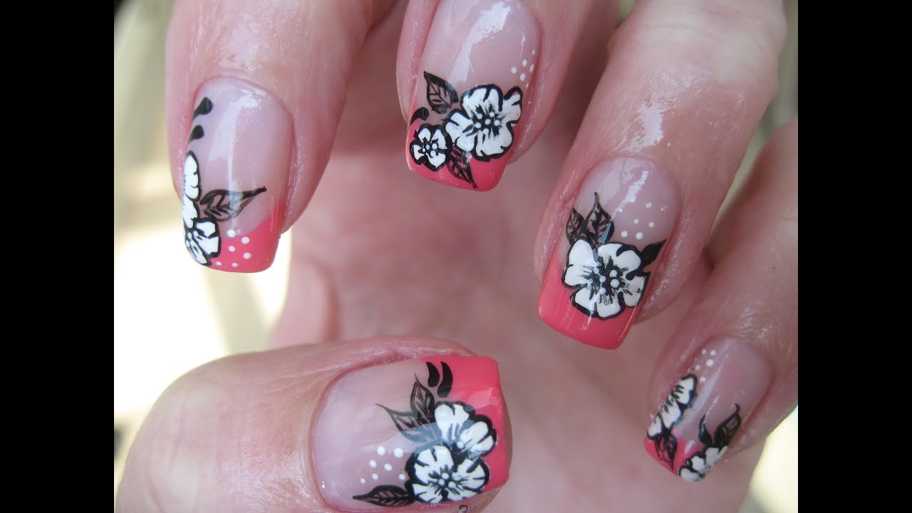 nail art coral french with sweet