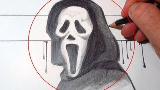 How To Draw Scream Mask (Ghostface)