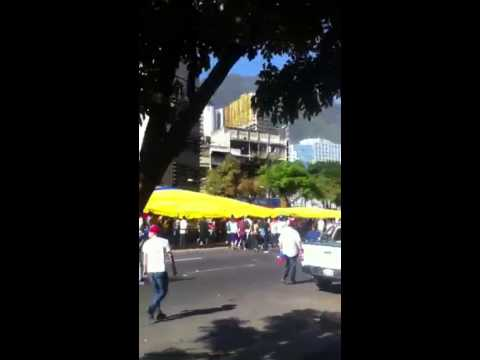 Anti-government protesters march in Caracas