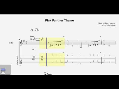 Pink Panther Theme Arranged By Kelly Valleau Guitar Pro Tab Youtube