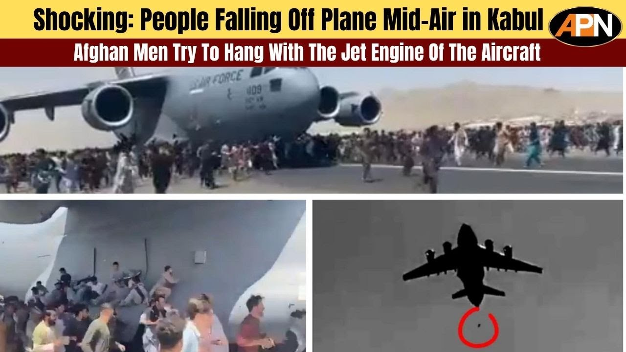 Afghan Men Try To Hang With The Jet Engine Of The Aircraft in Kabul- Afghanistan News - Kabul News - YouTube