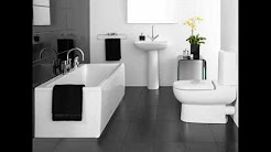 Bathroom designs in black and white tiles