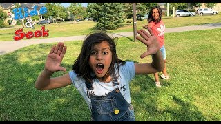HIDE AND SEEK chase tag AT THE  PARK!!  kids fun video