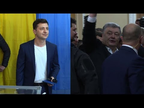 Zelensky and Poroshenko vote in Ukrainian presidential election