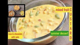 Fruit Custard/summer dessert/flavored fruit custard (rose & chocolate) /custard with nuts