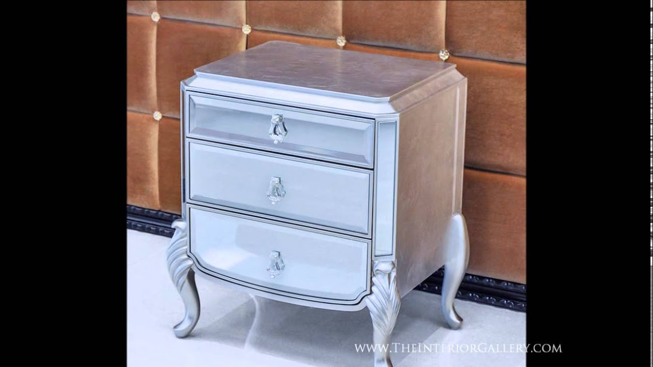 Modern Mirrored Night Stand Silver Leafing Finish Florentine