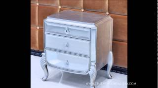 Modern Mirrored Night Stand - Silver Leafing Finish - Florentine