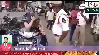 Honda Activa driving yasmeen begum misbehaved with Abids traffic police.