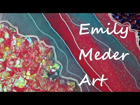 Mixed Media Resin Geode Painting Demo! DIY Resin Art. Fuchsia, Blue, and Glitter!