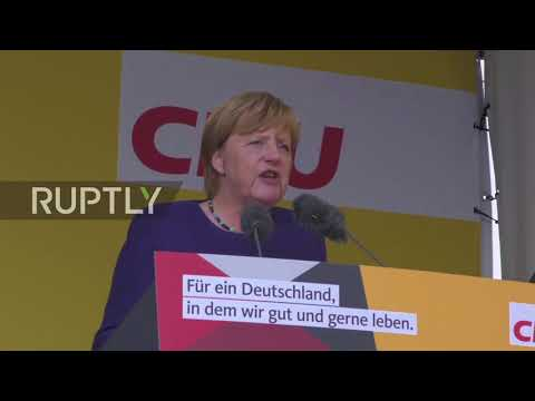 Germany: Merkel campaign rally speech in Gelnhausen met with boos and applause