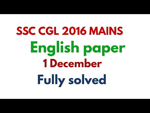SSC CGL 2016 mains English paper # December 1 fully solved