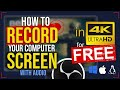 - How To RECORD SCREEN in 4K for FREE with OBS Studio