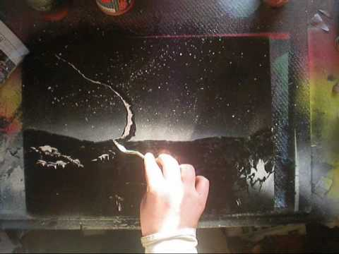 spray painting a space scene pallette knife tutorial youtube. Black Bedroom Furniture Sets. Home Design Ideas