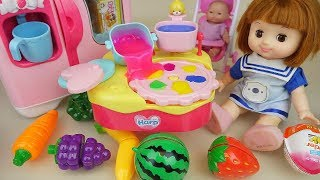 Fruit jelly and baby doll kitchen play baby Doli house