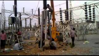 220 kv breaker erection work at chandrayana guttaa substation