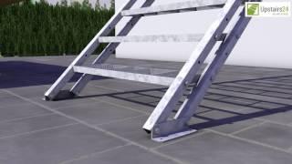Vidéo: Escalier extérieur Hollywood + rampe sur deux côtés