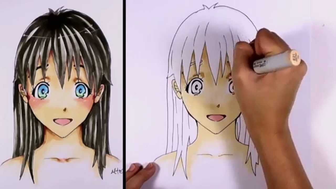 How to color a manga anime girl face with copic markers mlt youtube