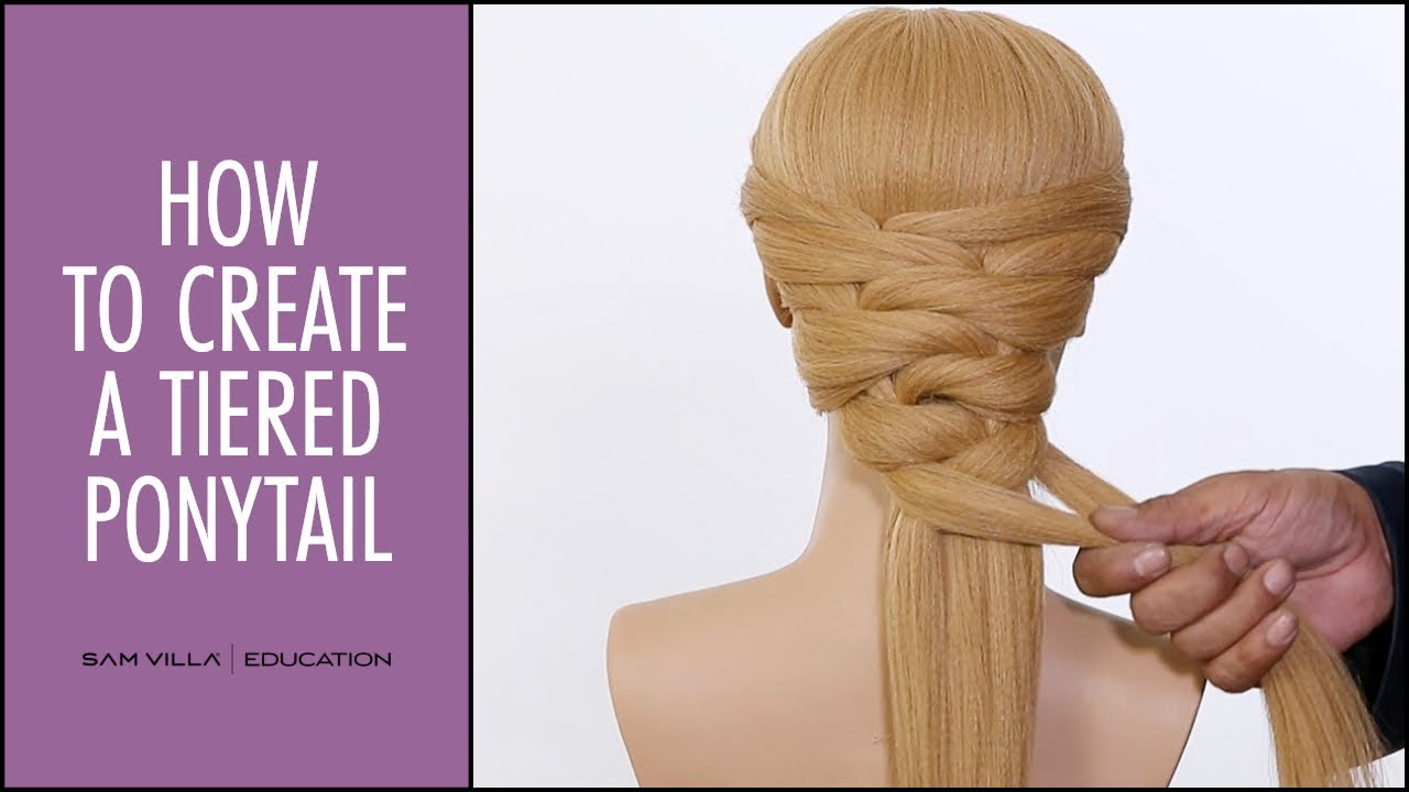 how to create a tiered ponytail (stacked ponytail) - youtube