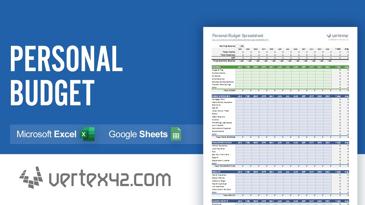 Personal Budget Spreadsheet Demo - YouTube