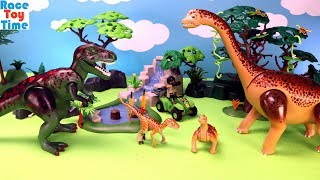 Playmobil Dinos Tyrannosaurus with Explorer and Brachiosaurus Playset - Fun Toys For Kids