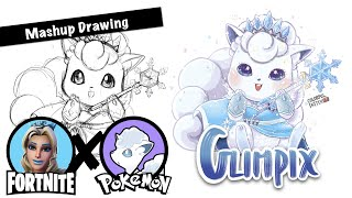 [Fortnite X Pokemon] Glimmer Skin + Vulpix(Alola) | Mashup drawing | How to draw Fortnite